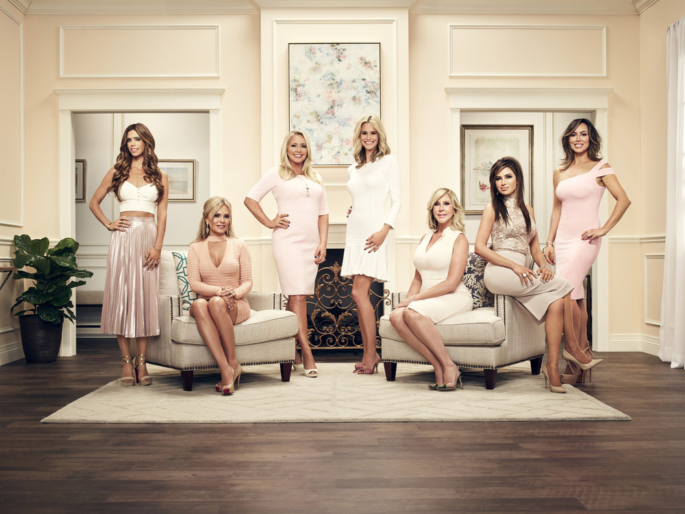 The Real Housewives of Orange County, S12 (L to R) Lydia McLaughlin, Tamra Judge, Shannon Beador, Meghan King Edmonds, Vicki Gunvalson, Peggy Sulahian, Kelly Dodd. Official Photo: Tommy Garcia/Bravo (Granted via permission of NBC/Uni Media Village)