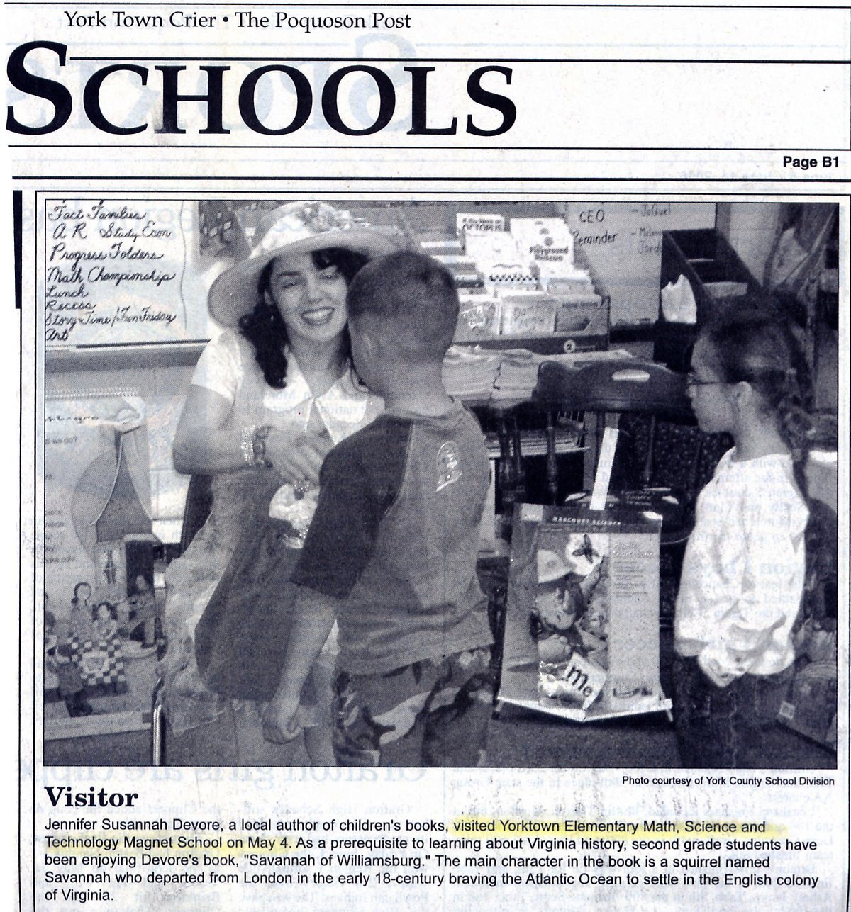 Yorktown Crier article: author at Yorktown Elelmentary School
